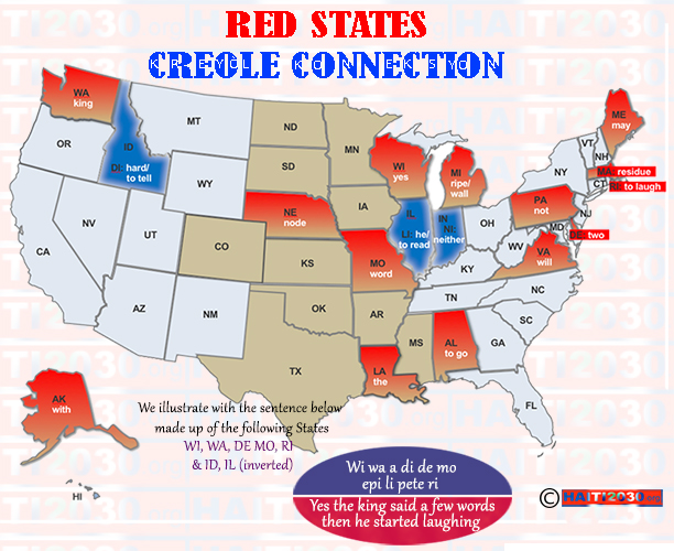 Two-letter US State names mapped to Creole words.